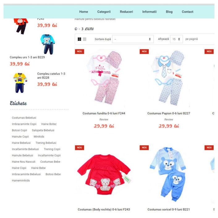 web design pentru haineminikids